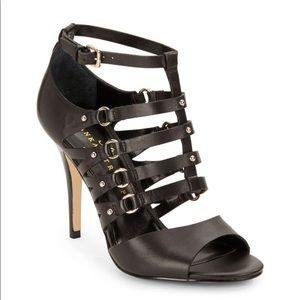 Ivanka Trump Black Maxy Strappy Leather Sandals
